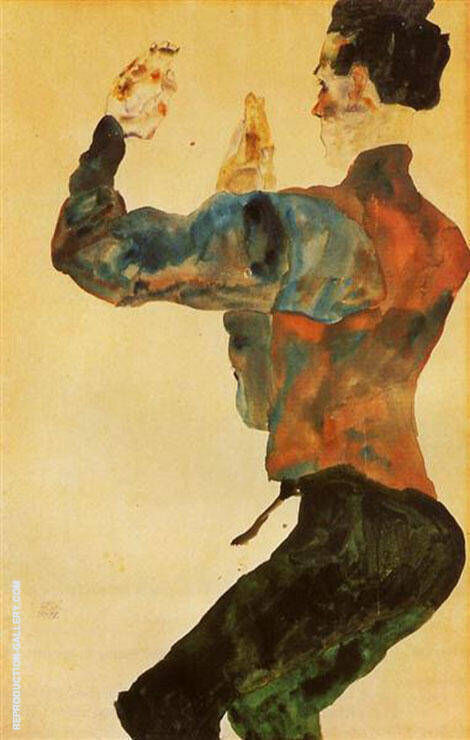 Self-Portrait with Raised Arms, Back View 1912 By Egon Schiele Replica Paintings on Canvas - Reproduction Gallery