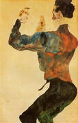Self-Portrait with Raised Arms, Back View 1912 By Egon Schiele