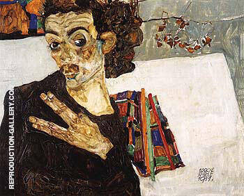 Self-Portrait with Black Clay Vase and Spread Fingers 1911 By Egon Schiele
