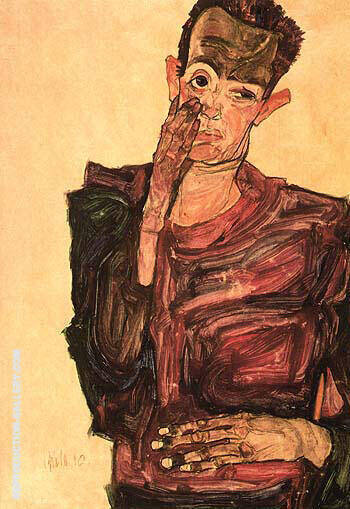 Self-Portrait with Hand to Cheek 1910 By Egon Schiele - Oil Paintings & Art Reproductions - Reproduction Gallery