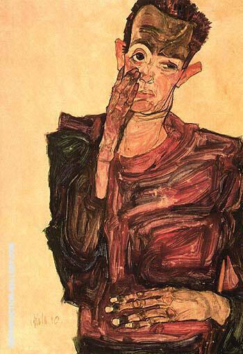Self-Portrait with Hand to Cheek 1910 By Egon Schiele