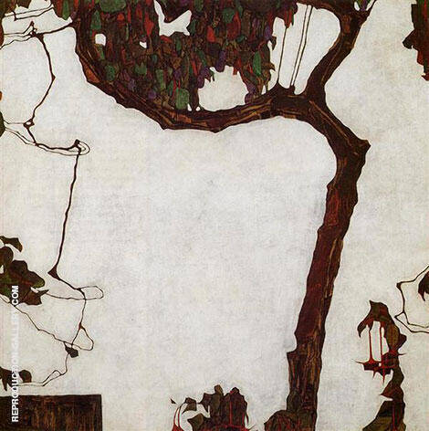 Autumn Tee with Fuchsias 1909 By Egon Schiele