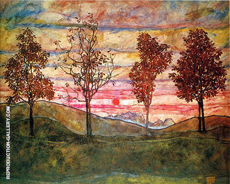 Four Trees 1917 By Egon Schiele