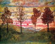 Four Trees 1917 By Egon Schiele