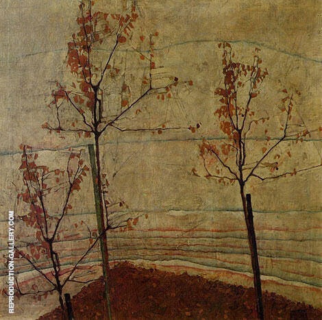 Autumn Trees 1911 By Egon Schiele - Oil Paintings & Art Reproductions - Reproduction Gallery