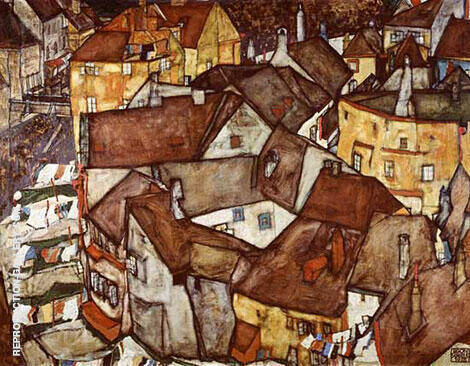 Krumau Town Crescent I (The Small City V) By Egon Schiele Replica Paintings on Canvas - Reproduction Gallery