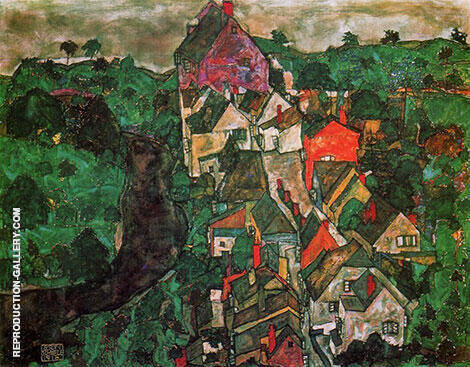 Krumau Landscape (Town and River) 1915-16 By Egon Schiele - Oil Paintings & Art Reproductions - Reproduction Gallery