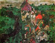 Krumau Landscape Town and River 1915-16 By Egon Schiele
