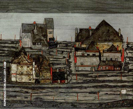 Reproduction of Suburb I 1914 by Egon Schiele | Oil Painting Replica On CanvasReproduction Gallery