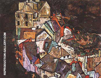 Edge of Town (Krumau Town Crescent III) 1918 By Egon Schiele
