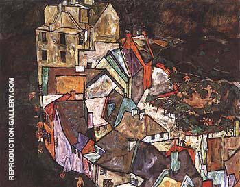 Edge of Town (Krumau Town Crescent III) 1918 By Egon Schiele
