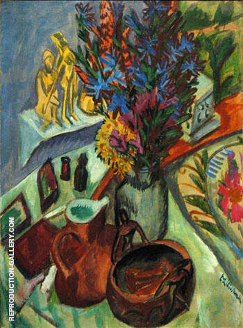 Still Life with Jug and African Bowl By Ernst Kirchner - Oil Paintings & Art Reproductions - Reproduction Gallery