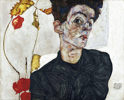 Self-Portrait with Chinese Lanterns (Physalis) 1912 By Egon Schiele Replica Paintings on Canvas - Reproduction Gallery