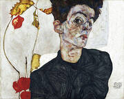 Self-Portrait with Chinese Lanterns (Physalis) 1912 By Egon Schiele