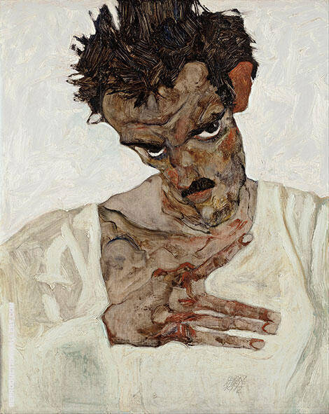 Self Portrait with Lowered Head 1912 By Egon Schiele