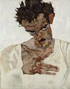 Self Portrait with Lowered Head 1912 By Egon Schiele