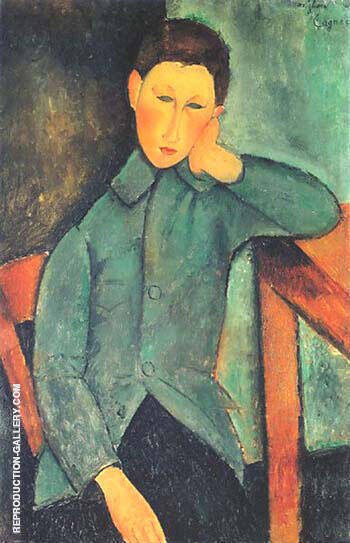 Reproduction of Boy with Blue Waistcoat 1919 by Amedeo Modigliani | Oil Painting Replica On CanvasReproduction Gallery