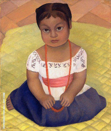 Kneeling Child on Yellow Background By Diego Rivera