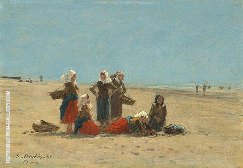 Women on the Beach at Berck 1881 Painting By Eugene Boudin