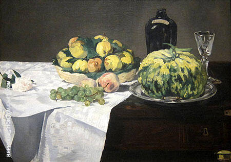 Still Life with Melon and Peaches 1866 By Edouard Manet Replica Paintings on Canvas - Reproduction Gallery