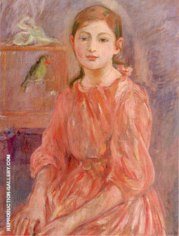 Artist's Daughter with a Parakeet By Berthe Morisot - Oil Paintings & Art Reproductions - Reproduction Gallery