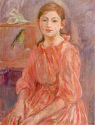 Artist's Daughter with a Parakeet By Berthe Morisot