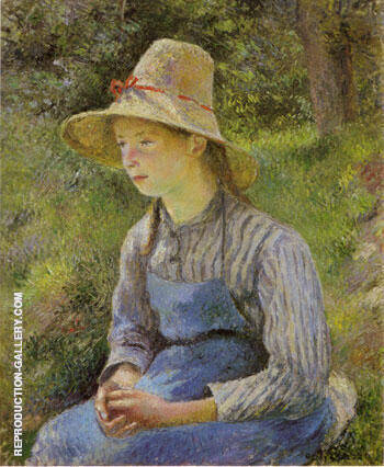 Peasant Girl with a Straw Hat By Camille Pissarro - Oil Paintings & Art Reproductions - Reproduction Gallery