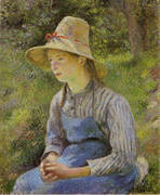 Peasant Girl with a Straw Hat By Camille Pissarro