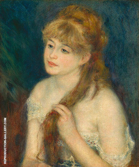 Young Woman Braiding Her Hair 1876 By Pierre Auguste Renoir Replica Paintings on Canvas - Reproduction Gallery