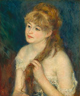 Young Woman Braiding Her Hair 1876 By Pierre Auguste Renoir