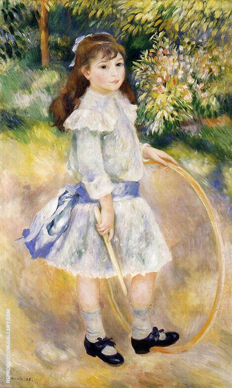 Girl with Hoop 1885 Painting By Pierre Auguste Renoir