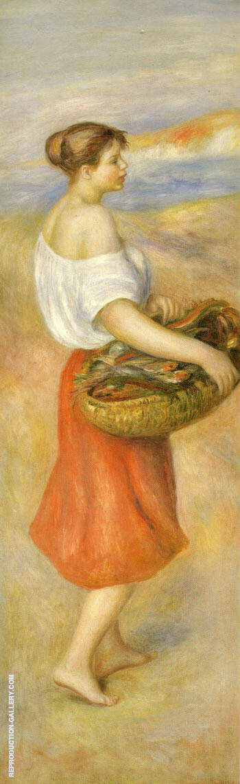 Girl with a Basket of Fish By Pierre Auguste Renoir - Oil Paintings & Art Reproductions - Reproduction Gallery