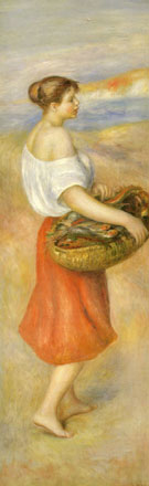 Girl with a Basket of Fish By Pierre Auguste Renoir