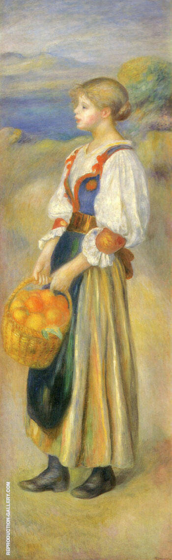 Girl with a Basket of Oranges Painting By Pierre Auguste Renoir