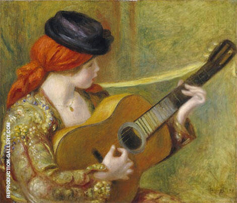 Young Spanish Woman with a Guitar 1898 Painting By Pierre Auguste Renoir