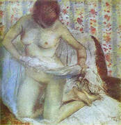 After the Bath Woman Drying Herself 1884 By Edgar Degas