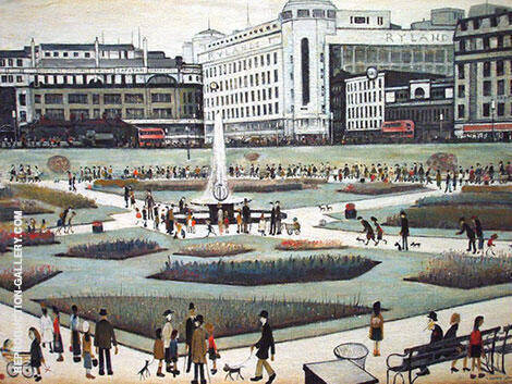 Piccadilly Gardens By L-S-Lowry - Oil Paintings & Art Reproductions - Reproduction Gallery