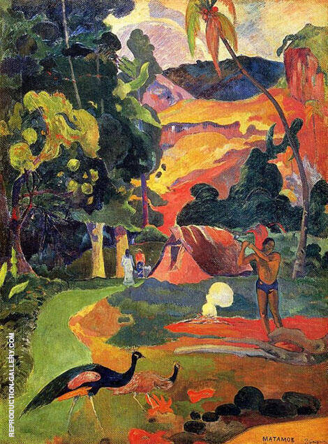 Landscape with Peacocks Matamoe 1892 By Paul Gauguin - Oil Paintings & Art Reproductions - Reproduction Gallery