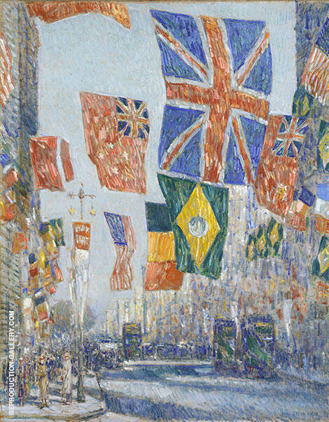 Reproduction of Avenue of the Allies, Great Britain 1918 by Childe Hassam | Oil Painting Replica On CanvasReproduction Gallery