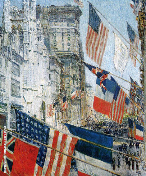 Reproduction of Allies Day 1917 by Childe Hassam | Oil Painting Replica On CanvasReproduction Gallery