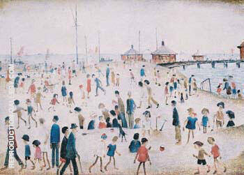 Reproduction of At the Seaside by L-S-Lowry | Oil Painting Replica On CanvasReproduction Gallery