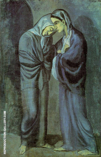 The Visit (Two Sisters) 1902 By Pablo Picasso Replica Paintings on Canvas - Reproduction Gallery