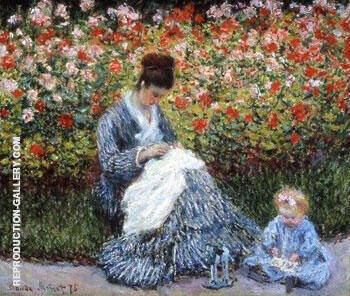 Camille Monet with a Child in Painter's Garden at Argenteuil, 1875 By Claude Monet - Oil Paintings & Art Reproductions - Reproduction Gallery