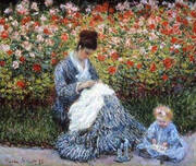 Camille Monet with a Child in Painter's Garden at Argenteuil, 1875 By Claude Monet