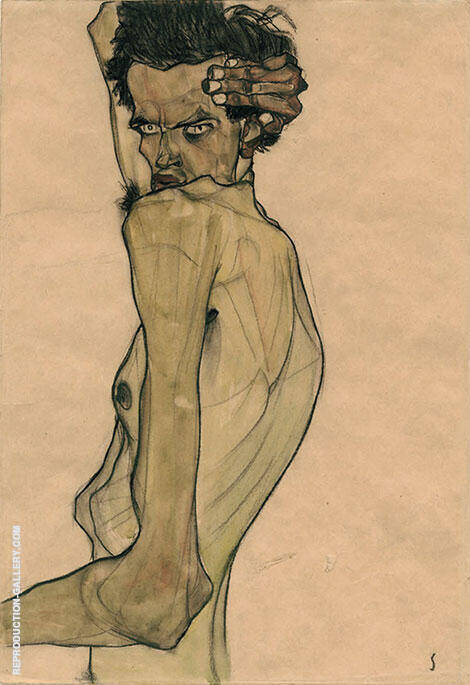 Self Portrait with Twisted Arm 1910 By Egon Schiele