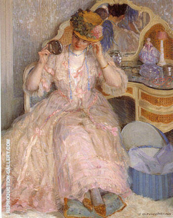 Lady Trying on a Hat 1909 By Frederick Carl Frieseke
