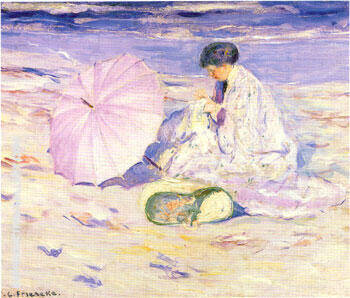On the Beach in Corsica 1913 By Frederick Carl Frieseke Replica Paintings on Canvas - Reproduction Gallery