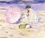 On the Beach in Corsica 1913 By Frederick Carl Frieseke