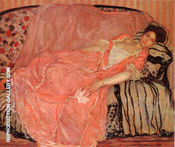 Portrait of madame Gely On the Couch By Frederick Carl Frieseke Replica Paintings on Canvas - Reproduction Gallery