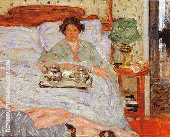 Le Lejeuner au lit 1906 By Frederick Carl Frieseke - Oil Paintings & Art Reproductions - Reproduction Gallery